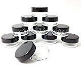 20x 5mL EMPTY PLASTIC JARS POTS w/ BLACK SCREW LIDS For Nail Art/Glitter/Make Up/Oils by Lucemill Packaging
