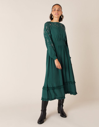 Monsoon Star Heat-Seal Gem Midi Dress Green
