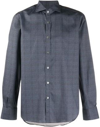 Canali Micro-Houndstooth Check Print Shirt