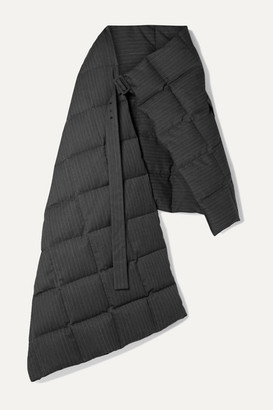 Dries Van Noten Gil Oversized Quilted Pinstriped Twill Down Wrap - Charcoal