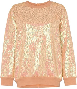 Ashish Sequin rear zip cotton blend sweatshirt