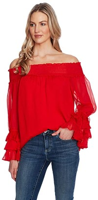 CeCe Off-the-Shoulder Blouse (Lush Green) Women's Clothing