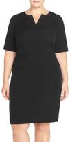 Mynt 1792 Seam Detail Stretch Crepe Sheath Dress (Plus Size)
