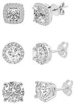Swarovski Golden Nyc Golden NYC Women's Earrings silvertone - Three-Piece Silvertone Earrings Set with Crystals