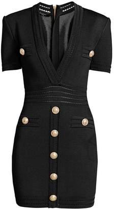 Balmain Short-Sleeve Plunge Bodycon Dress