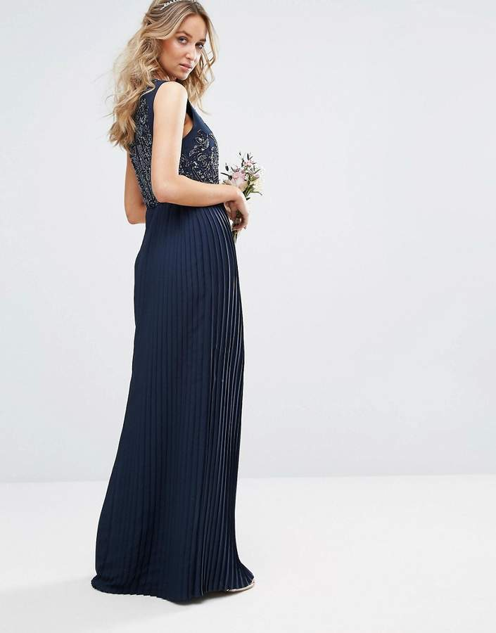 Maya High Neck Maxi Dress with Tonal Embellishment and Pleated Skirt