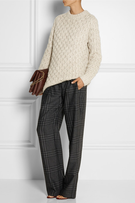 ADAM by Adam Lippes Plaid wool and cashmere-blend wide-leg pants