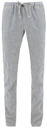 Incotex Seba Drawstring-waist Striped Cotton Trousers - Mens - Blue White