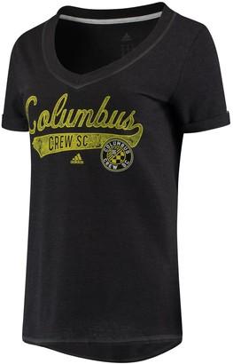 adidas Women's Black Columbus Crew SC Tail Stack V-Neck T-Shirt