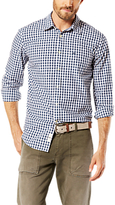 Dockers Poplin Gingham Laundered Shirt, Dark Blue/white