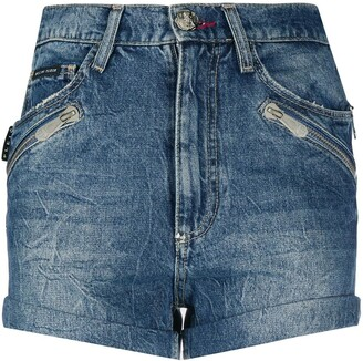 Philipp Plein Multi-Pocket Denim Shorts