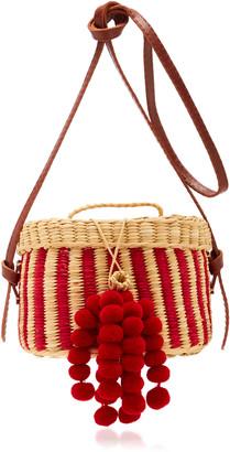 Nannacay Kiki Small Striped Pompom-Embellished Raffia Shoulder Bag