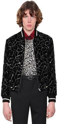 Saint Laurent Teddy Embellished Velvet Bomber Jacket