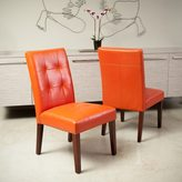 Christopher Knight Home Cambridge Tufted Orange Bonded Leather Dining Chair (Set of 2)
