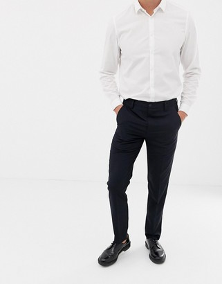 French Connection Plain Slim Fit Trousers-Navy