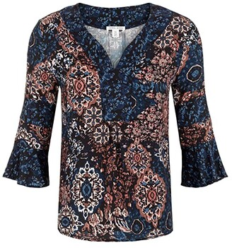 Tribal Printed Stretch Challis 3/4 Sleeve Blouse (Rose Clay) Women's Blouse