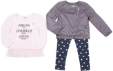 Little Lass Gray Diagonal-Zip Jacket Set - Toddler