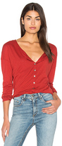 Michael Stars Long Sleeve Unfinished Edge Henley Top