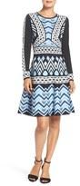 Eliza J Jacquard Sweater Fit & Flare Dress (Regular & Petite)