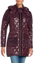 Belle By Badgley Mischka Velour-Trimmed Quilted Down Coat