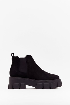 Nasty Gal Womens Sell Your Sole Faux Suede Cleated Boots - Black