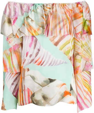 Blumarine Graphic Print Off-Shoulder Blouse