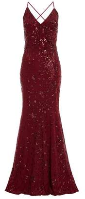 Dorothy Perkins Womens *Quiz Red Sequin Fishtail Maxi Dress, Red