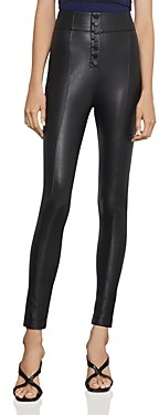 BCBGMAXAZRIA Button-Front Faux Leather Leggings