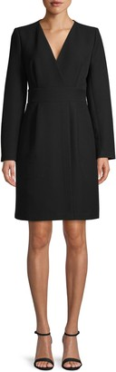 Donna Karan Long Sleeve Faux Wrap Dress