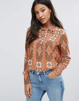Vila Printed Pussy Bow Blouse
