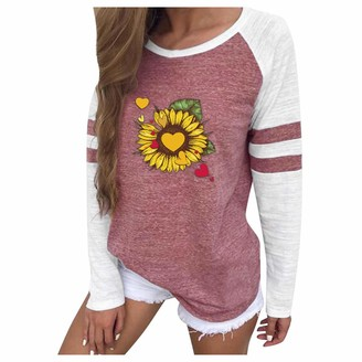 Lazzboy Women Tops Blouse Casual Raglan Long Sleeve Solid Patchwork Striped Heart Flower Print Slim Crew O Neck Newchic Pullover Shirt (2XL(12)