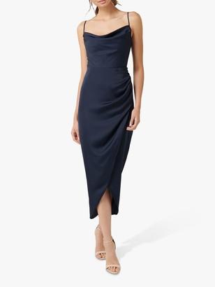 Forever New Holly Satin Cowl Neck Midi Dress, Navy