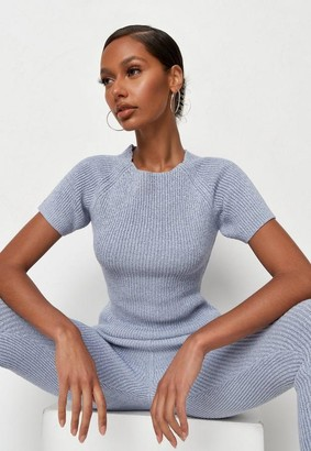 Missguided Blue Co Ord Textured Knit Top