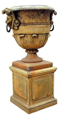 Toppco Large Lion Urn And Base Antique Stone