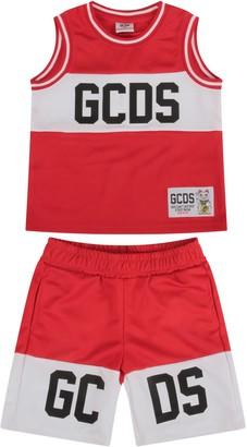 Gcds Mini Red Babyboy Suit With Black Logo