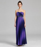 Sequin Hearts Strapless Beaded Ombre Gown