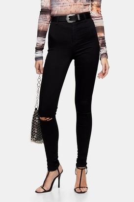 Topshop TALL Black Ripped Belt Loop Joni Skinny Jeans