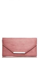 Quiz Terracotta Faux Suede Clutch Bag