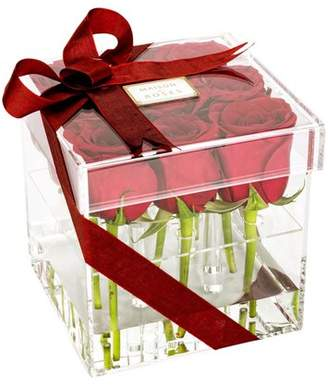 """clear Restaurantware Tek Acrylic Square Flower Box Vase - 9 holes, with Lid - 6"""" x 6"""" x 6"""" - 1 count box"""