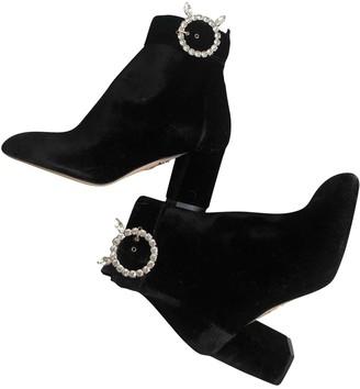 Charlotte Olympia Kitty Black Velvet Ankle boots