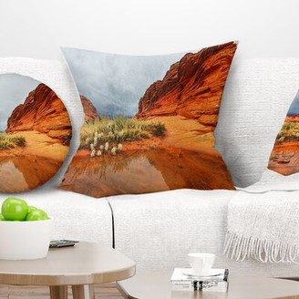 """clear East Urban Home Landscape Lake Vermillion Cliffs Pillow East Urban Home Size: 16"""" x 16"""", Product Type: Throw Pillow"""