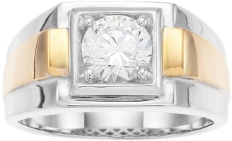 Men's Two Tone Sterling Silver Cubic Zirconia Solitaire Ring