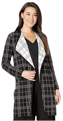 Vince Camuto Specialty Size Petite Long Sleeve Plaid Open Front Maxi Cardigan