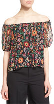RED Valentino Off-The-Shoulder Floral-Print Top, Black