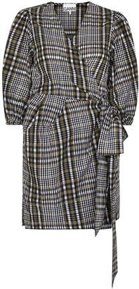 Ganni Belted Check-Print Mini Dress