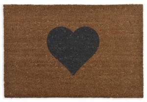 No. 3 - Coir Doormat Single Heart Small - Small - Brown/Blue