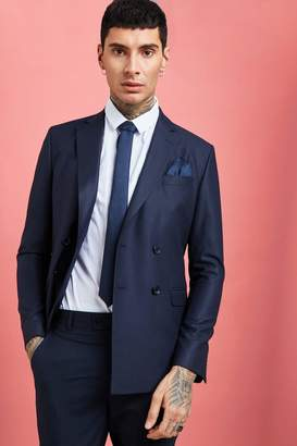 BoohoomanBoohooMAN Mens Navy Plain Double Breasted Skinny Fit Suit Blazer, Navy