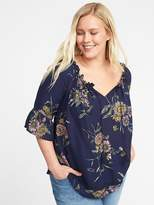 Old Navy Relaxed Plus-Size Tie-Neck Peasant Blouse