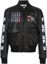 Off-White printed bomber jacket - men - Cotton/Calf Leather/Acrylic/Wool - S