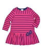 Florence Eiseman Stripe Button-Shoulder Dress w/ Flower Detail, Size 2-6X